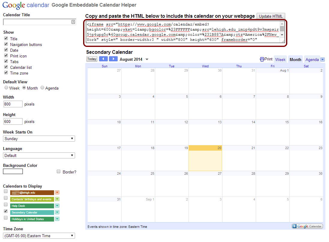 Embed Your Google Calendar on a Website | Library & Technology Services