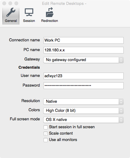 Configuration For Remote Desktop