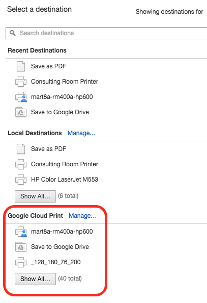how to connect printer to google print