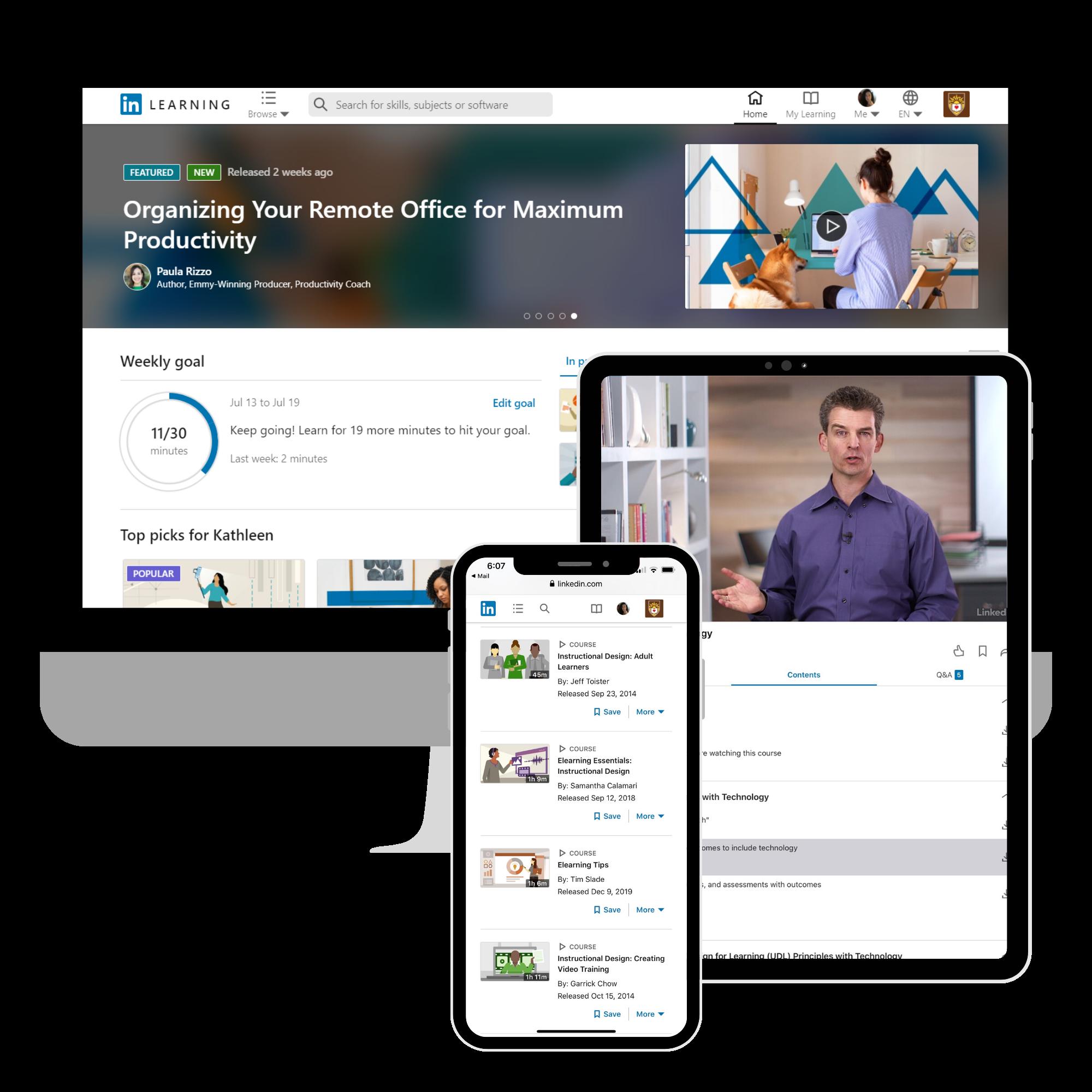 LinkedIn Learning on mobile