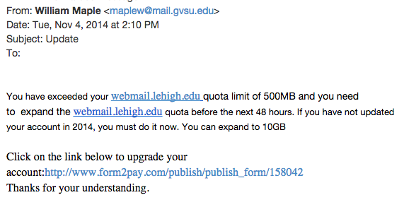 Recent Phishing Examples Library Technology Services