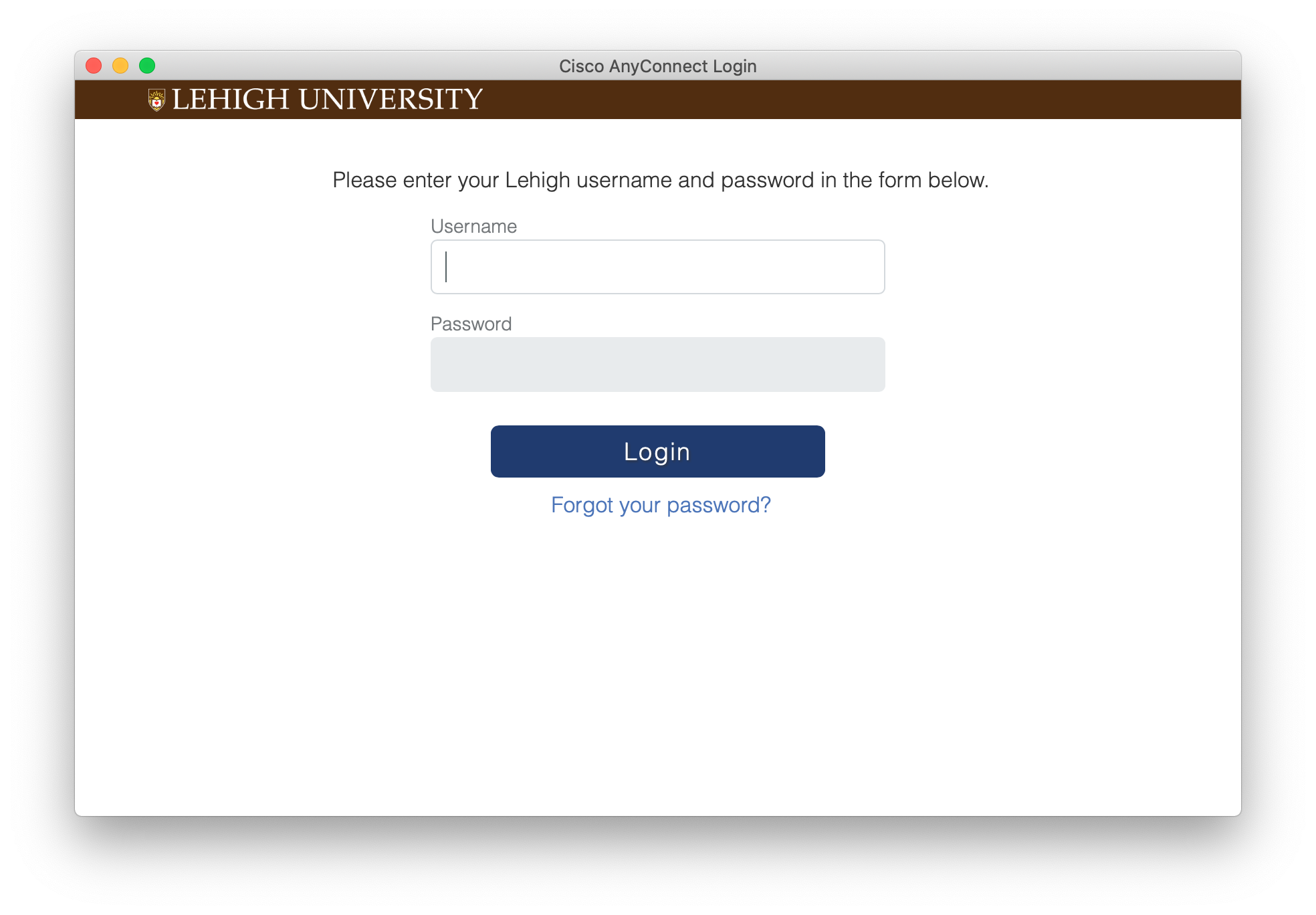 Connect to the Lehigh Network with Cisco AnyConnect on macOS