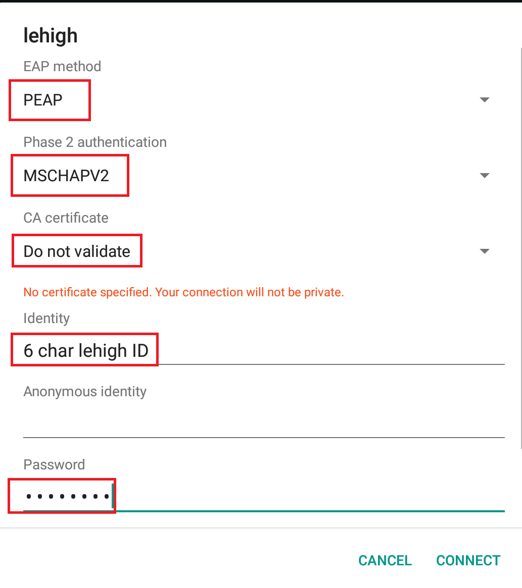 Configure Wireless on Android | Library & Technology Services