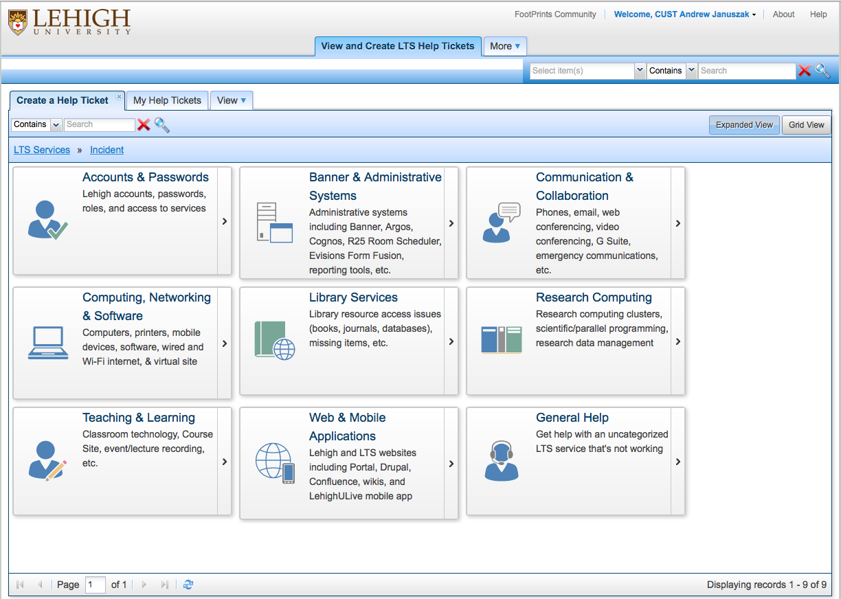 Submit A Help Ticket In FootPrints Library Technology Services - Footprints help desk software