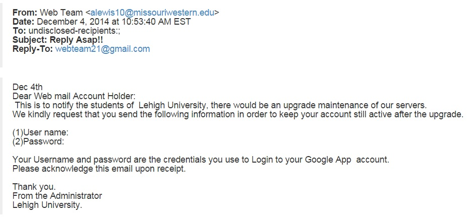 Phishing attempt dated 12/4