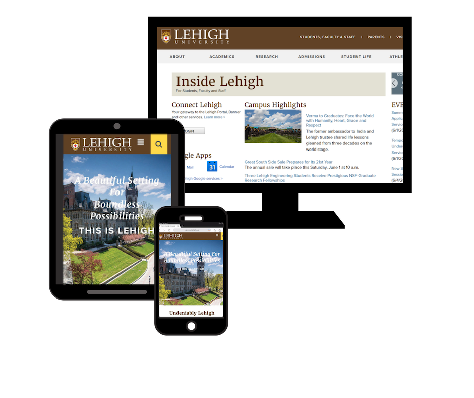 Computer and mobile devices displaying the Lehigh University homepage