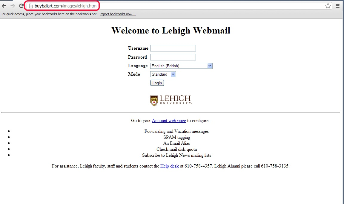 Fake Lehigh Webmail Login