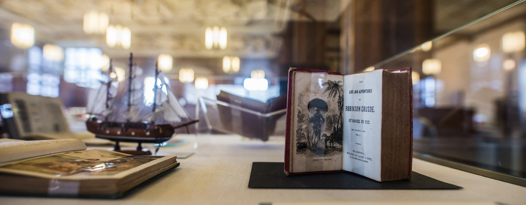 Photo of Robinson Crusoe exhibit Linderman Library Lehigh University