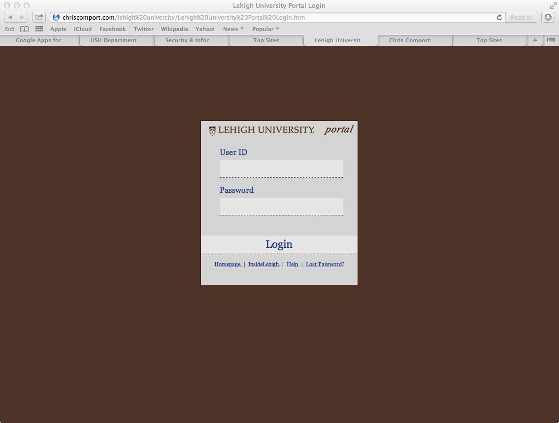 Fake Portal Login Page