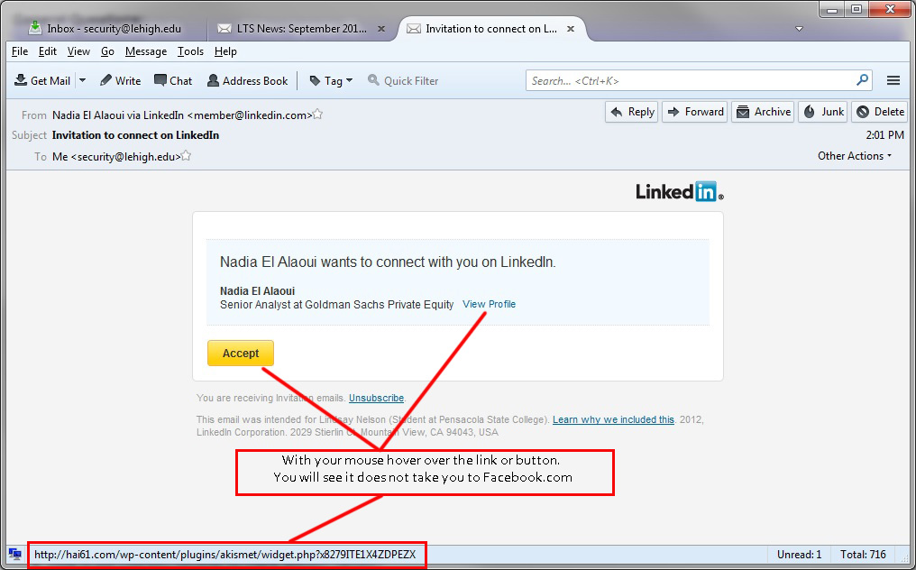 Recent Phishing Examples Social Networking Library Technology