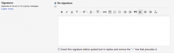 screenshot of the signature configuration form