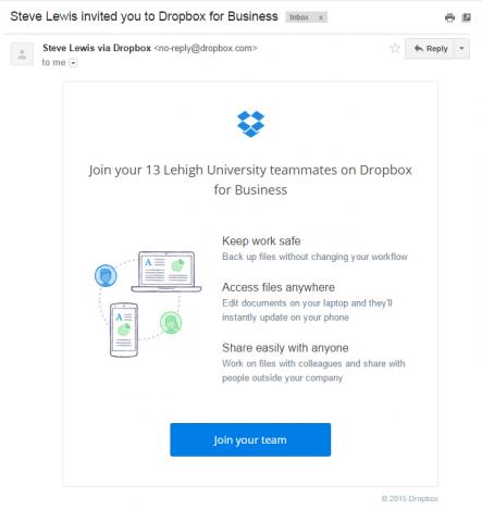 Dropbox invite email