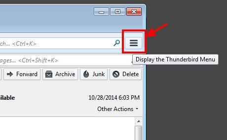Screenshot of the Thunderbird Settings Menu icon