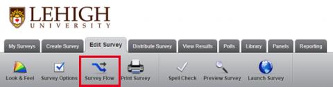 Menu ribbon for Survey Flow
