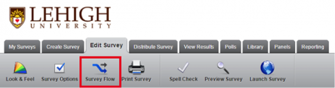 Menu ribbon for Survey Flow