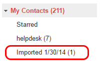 A screenshot highlighting the Imported contacts.