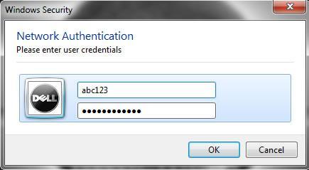 Enter credentials