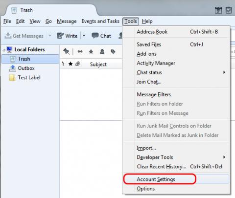 Screenshot highlighting the Account Settings in the Tools menu.