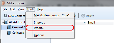 A screenshot of the Address Book window and its Tools menu, highlighting the Export... command.