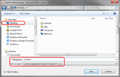 A screenshot of the Save As... dialog box, highlighting the Desktop folder, the file name, and the Save as type options.