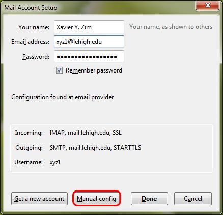 The mail account setup window.