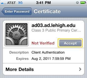 Accept certificate