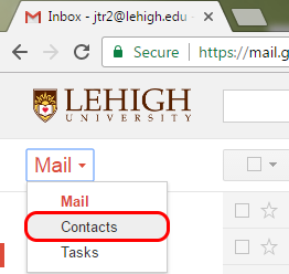 A screenshot of the Gmail user interface, highlighting Contacts within the Mail menu.