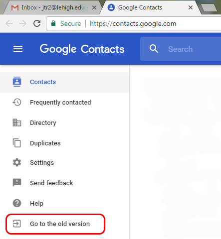 """A screenshot of Google Contacts, highlighting the """"Go to the old version"""" command on the left side of the screen."""