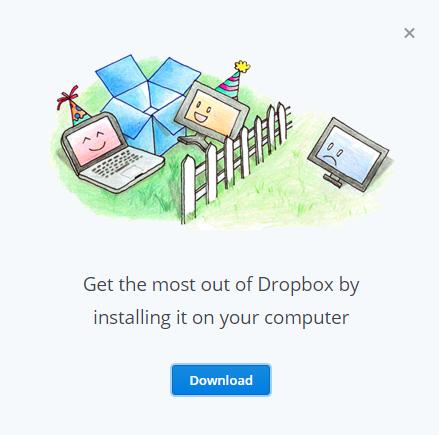DropBox download popup window
