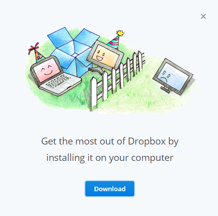 DropBox download popup window