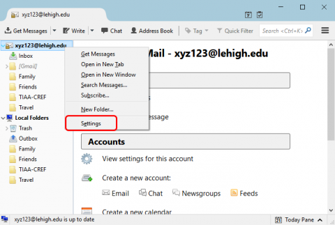 Screenshot highlighting the Settings option after right-clicking the account.