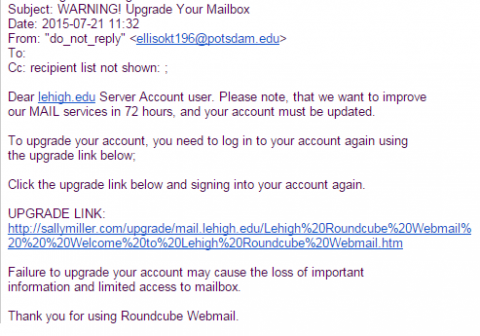 Warning! Upgrade phishing message
