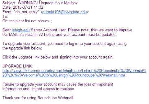 Warning! Upgrade phishing message