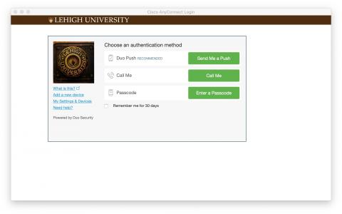 Lehigh Duo Two-Factor Authentication Screen