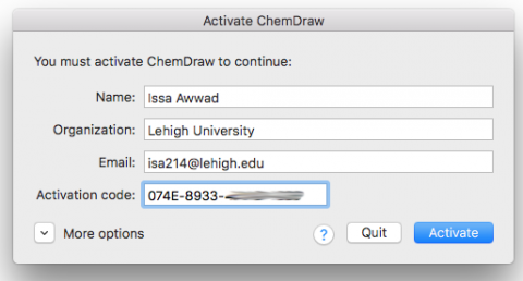 Mac ChemDraw Activation Window