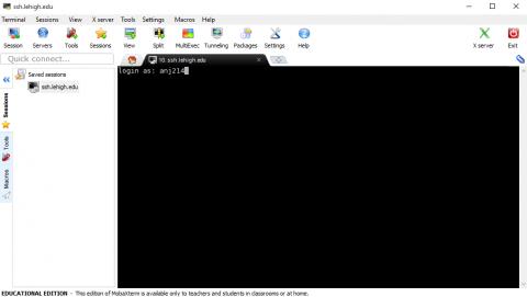Login to ssh.lehigh.edu using MobaXterm
