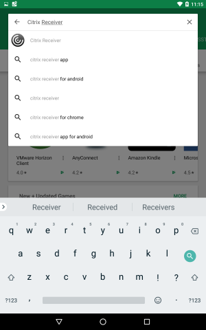 searching for citrix receiver page in play store