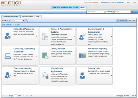 Service categories screen