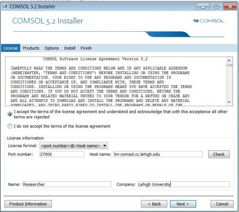 comsol license page