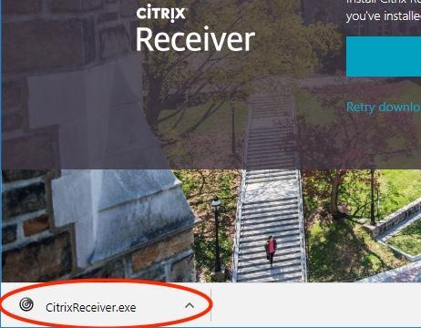 downloaded installer in Chrome window