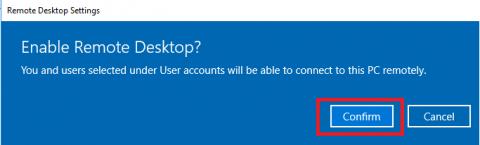 Confirm enable remote desktop