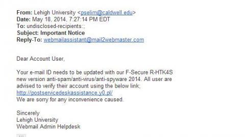 antiviurs phishing message screenshot