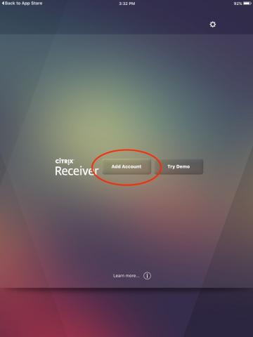 iOS Citrix Receiver Add Account button