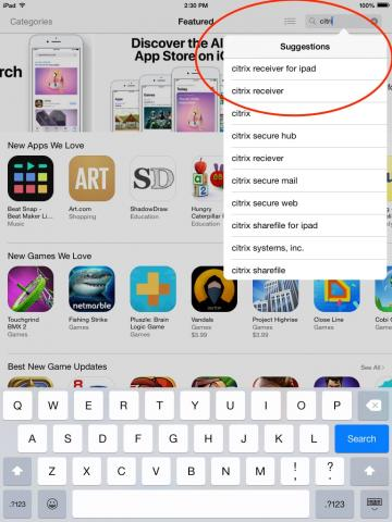 iOS App Store search for Citrix Receiver