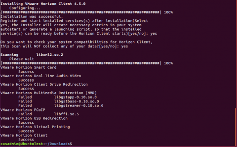 terminal showing linux installer success