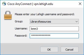Cisco AnyConnect connect login