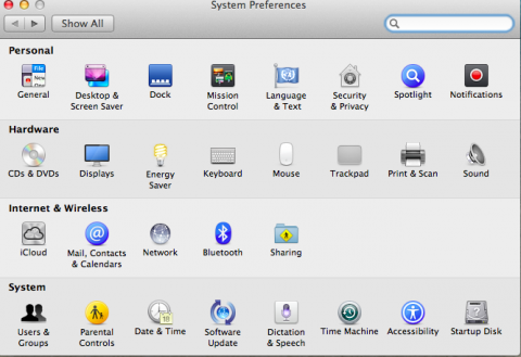 MacOS System Preferences pane