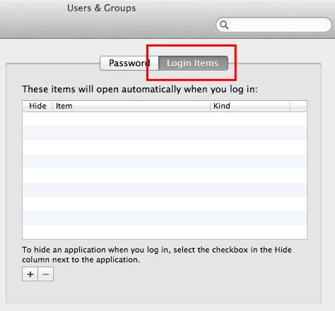 login items tab on users panel