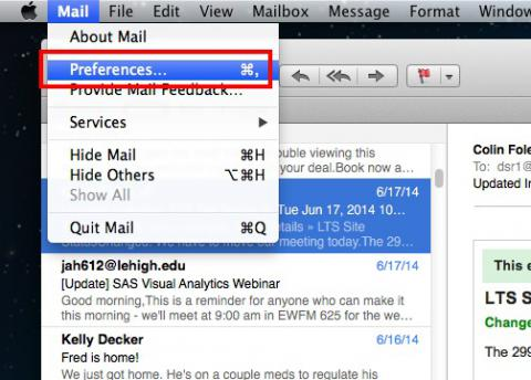 Screenshot showing how to open Preferences dialog