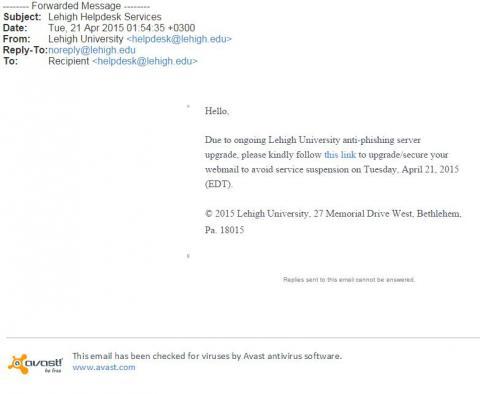 Fake Anti-Phishing Email